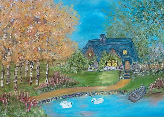 Cottage Greeting Card featuring the painting Country Cottage by Mikki Alhart