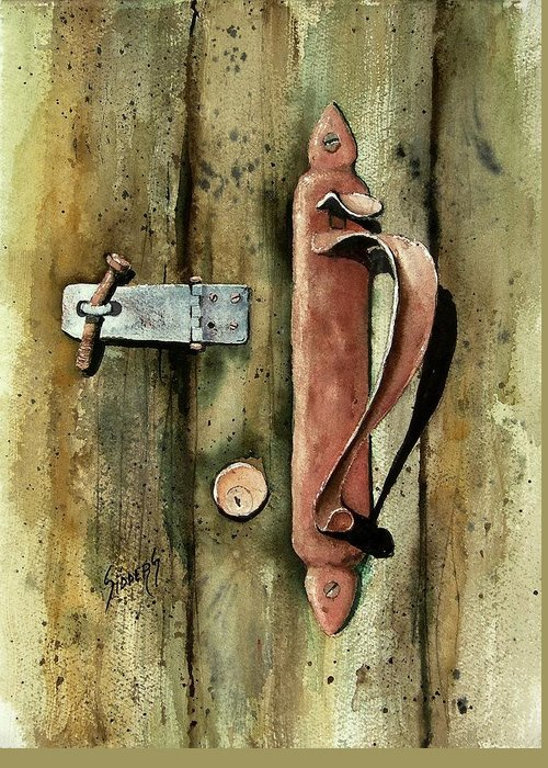 Rust Greeting Card featuring the painting Country Door Lock by Sam Sidders