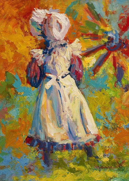 Figure Greeting Card featuring the painting Country Girl by Marion Rose