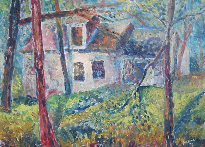 Landscapecountry Home Impressionistic Greeting Card featuring the painting Country Home by Joseph Sandora Jr
