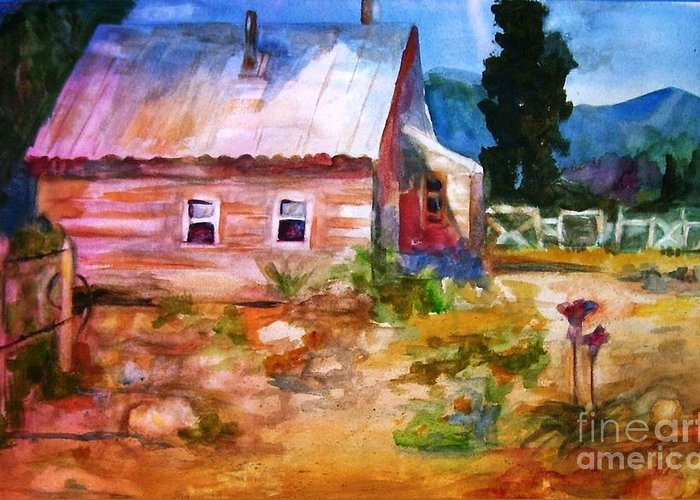 Cottage Greeting Card featuring the painting Country House by Frances Marino