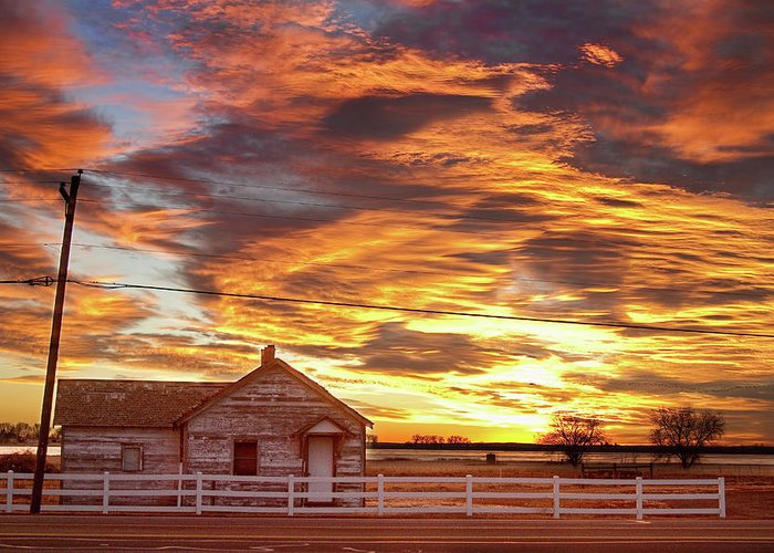 Sunsets Greeting Card featuring the photograph Country House Sunset Longmont Colorado Boulder County by James BO Insogna