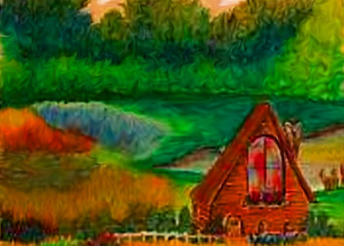 Landscape Greeting Card featuring the drawing Country by Karen R Scoville