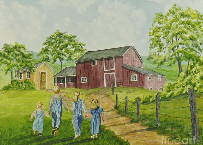 Country Kids Art Greeting Card featuring the painting Country Kids by Charlotte Blanchard