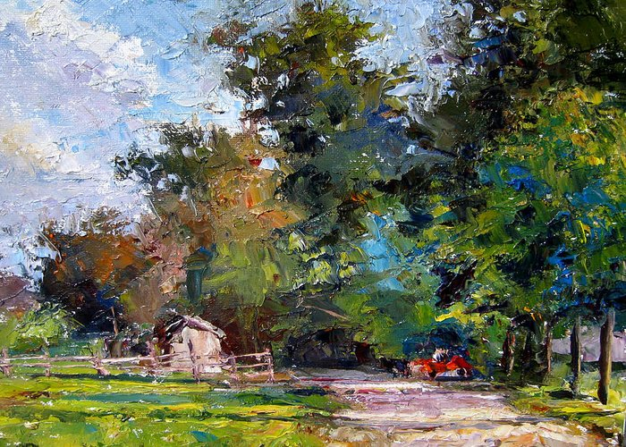 Oil Greeting Card featuring the painting Country Lane by Mark Hartung