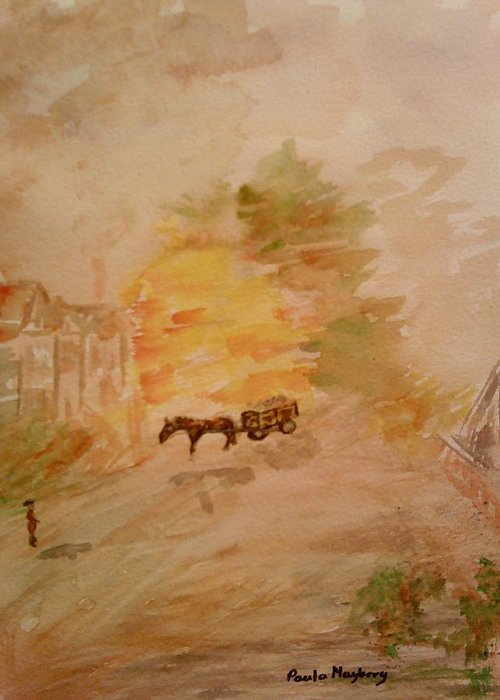 Country Life Greeting Card featuring the painting Country Life by Paula Maybery