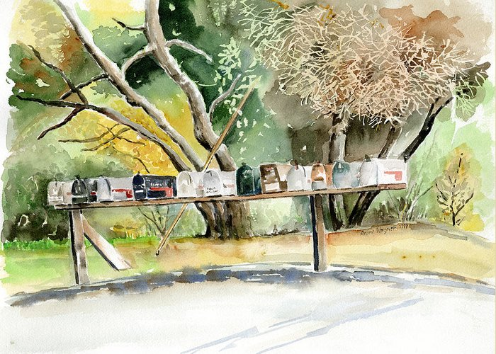 Mailboxes Greeting Card featuring the painting Country Mailboxes by Arline Wagner