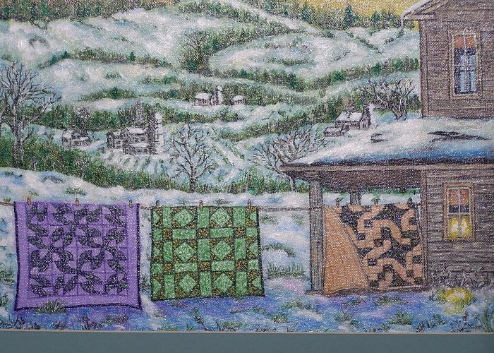 Quilts Greeting Card featuring the painting Country Quilts by Charles Vaughn