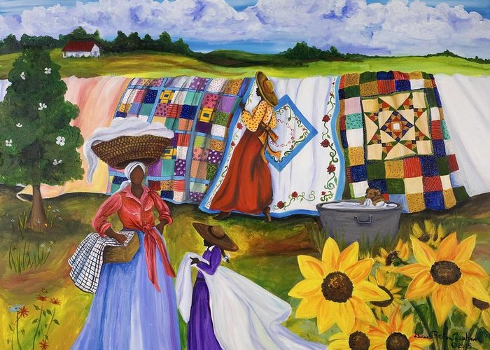 Gullah Greeting Card featuring the painting Country Quilts by Diane Britton Dunham