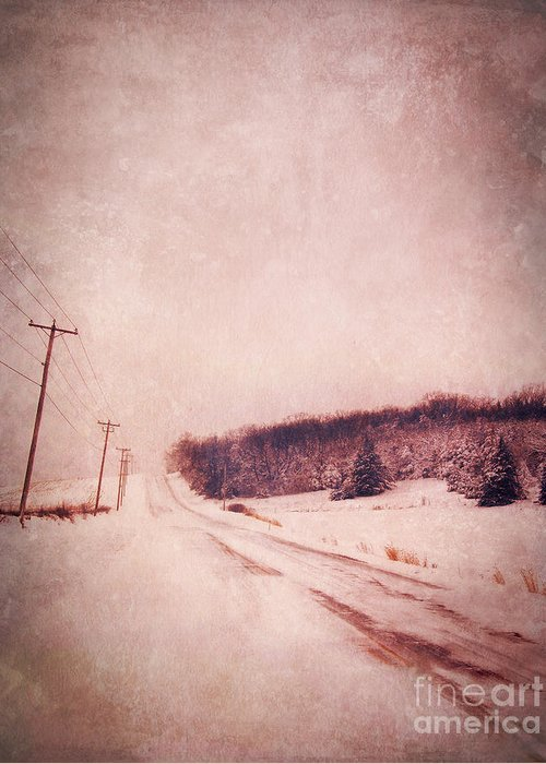 Road Greeting Card featuring the photograph Country Road In Snow by Jill Battaglia