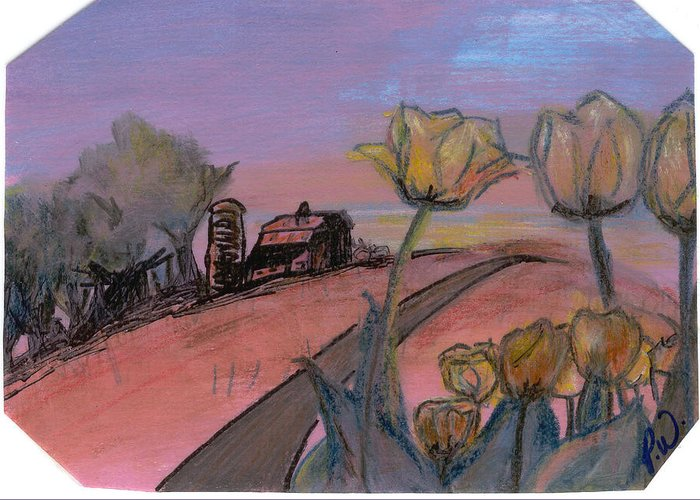 Watercolor Pencils Greeting Card featuring the drawing Country Road by Pamela Wilson