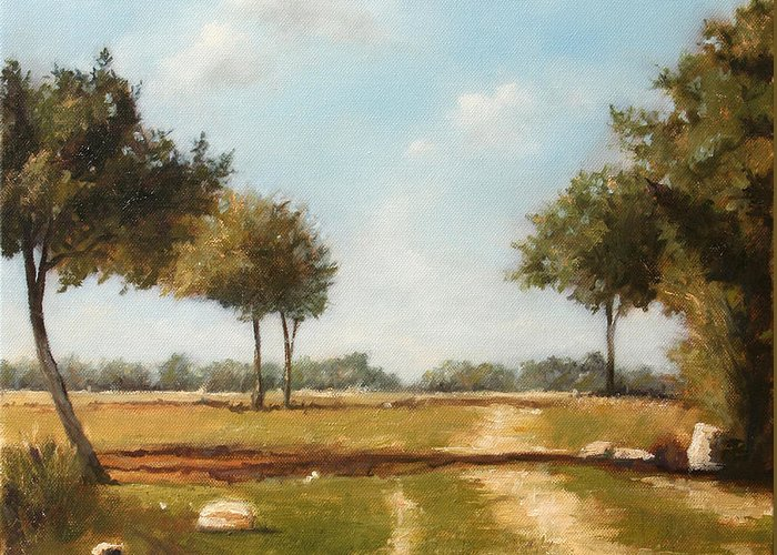 Landscape Greeting Card featuring the painting Country Road with Trees by Darko Topalski