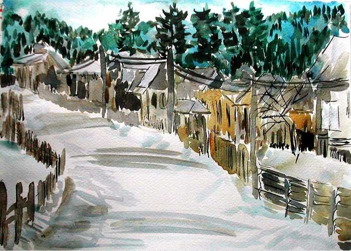 Landscape Greeting Card featuring the painting Country Side by Liliana Andrei