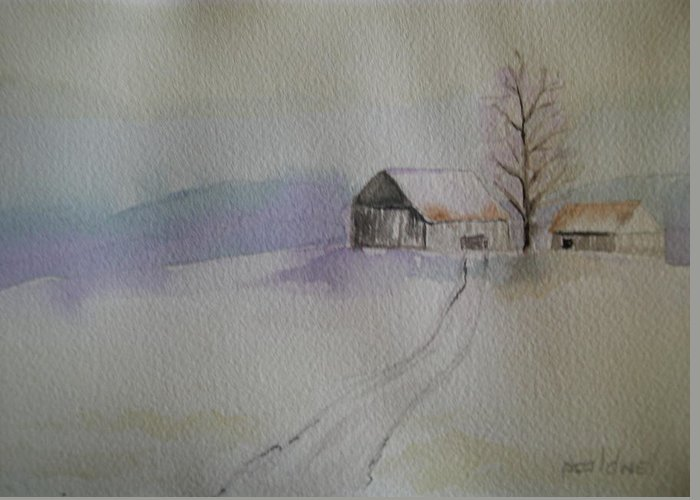 Barn Snow Winter Tree Landscape Cold Greeting Card featuring the painting Country Snow by Patricia Caldwell