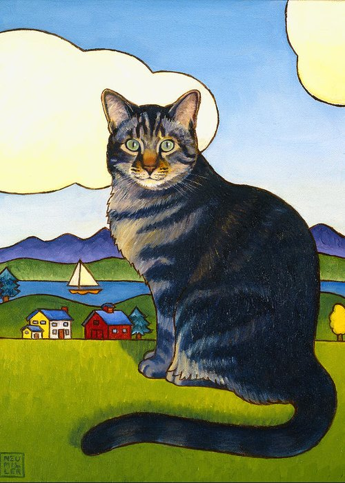 Cat Greeting Card featuring the painting Coupeville Cat by Stacey Neumiller