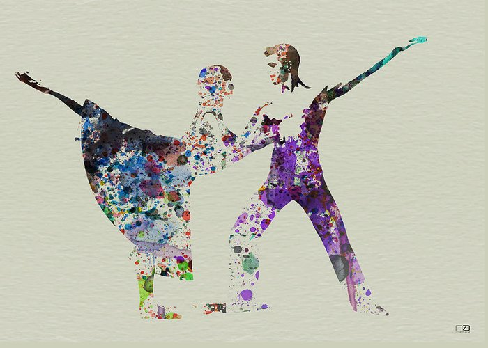 Ballerina Greeting Card featuring the painting Couple Dancing Ballet by Naxart Studio