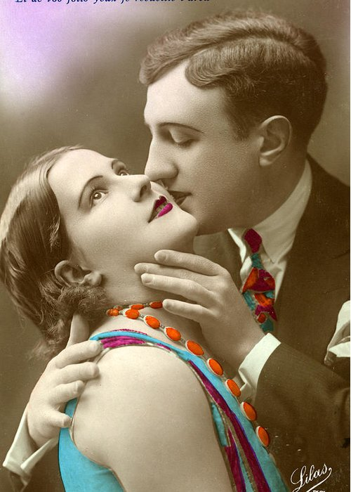 Couple kissing greeting card for sale by french school m4hsunfo