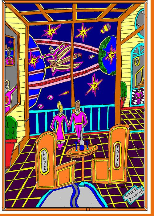 Night Sky Greeting Card featuring the mixed media Couple Looking At Star by Anthony Benjamin