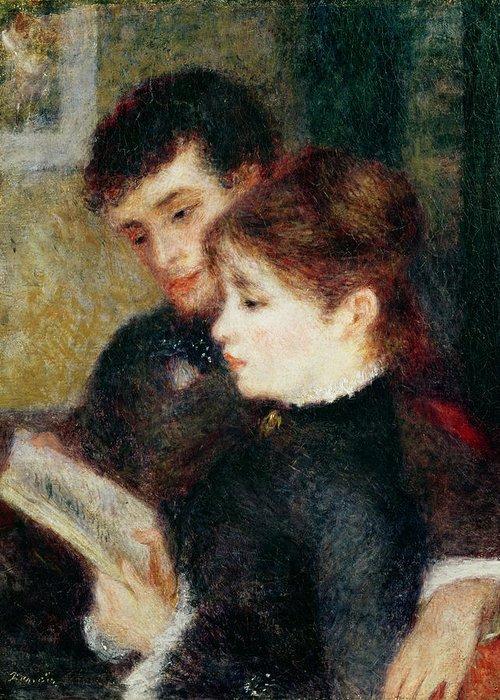 Couple Reading (edmond Renoir And Marguerite Legrand) By Pierre Auguste Renoir (1841-1919) Greeting Card featuring the painting Couple Reading by Pierre Auguste Renoir