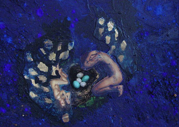 Couple Greeting Card featuring the painting Couple With Eggs by Merav Shomer
