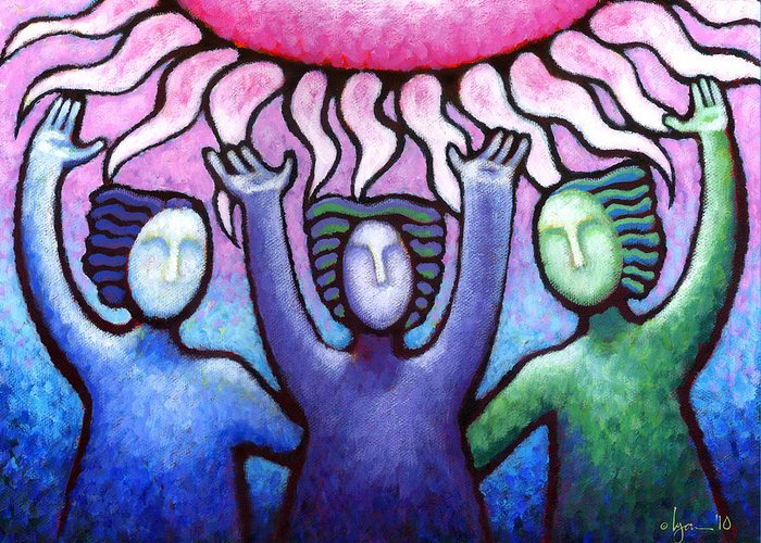 Acrylic Paintings Greeting Card featuring the painting Courage Clarity And Communication by Angela Treat Lyon