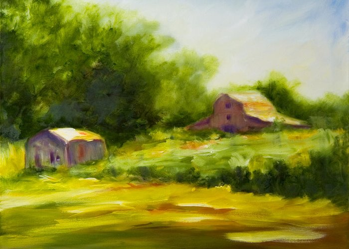 Landscape In Green Greeting Card featuring the painting Courage by Shannon Grissom