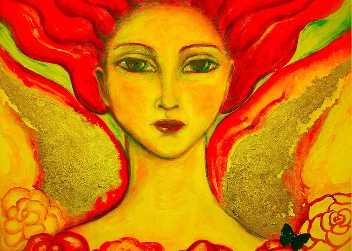 Angel Greeting Card featuring the painting Courage by Shoshanna Lightsmith