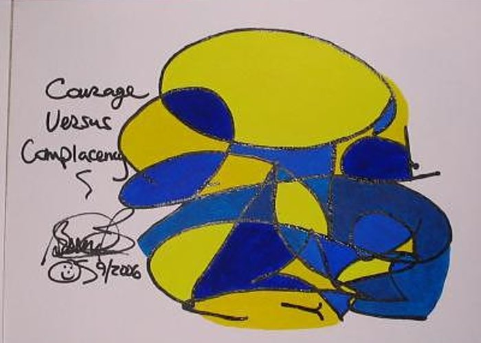 Abstract Greeting Card featuring the painting Courage Versus Complacency by Brenda Basham Dothage
