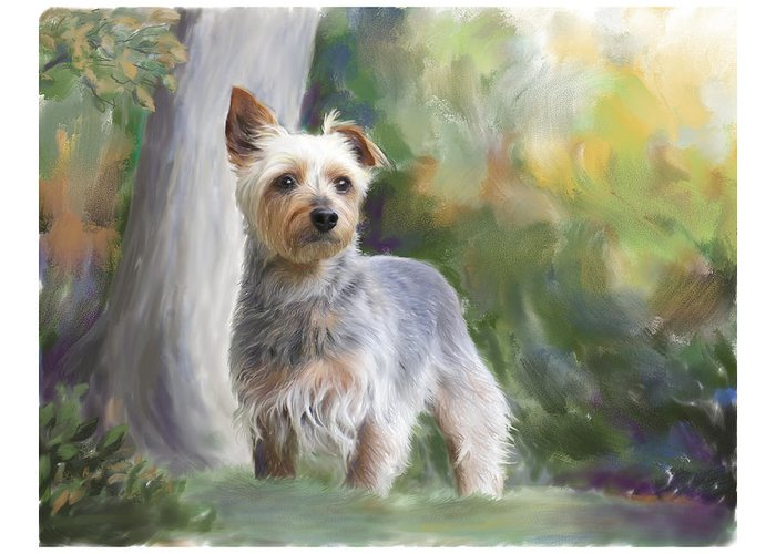 Dog Greeting Card featuring the painting Courageous Curiosity by Connie Moses