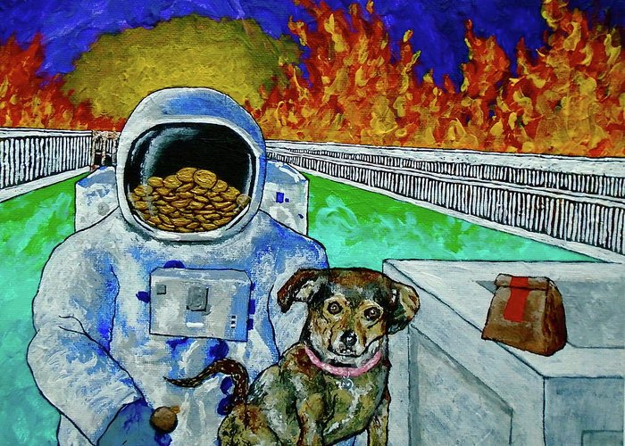 Art & Collectibles Painting Acrylic Fire Flames Sunset Roman Buildings Astronaut Puppy Fast Food Bags Gold Coins Swords Weird Odd Ooak One Of A Kind Interior Decorations Greeting Card featuring the painting Deeper Experience In Retrospect by Mike Kraus