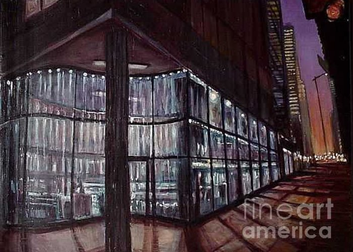 Chicago Greeting Card featuring the painting Court Restaurant At Night by Christopher Buoscio