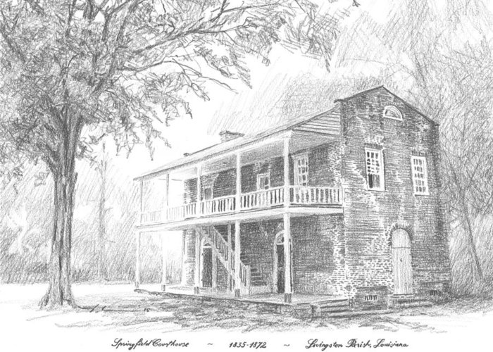 Www.miketheuer.com Courthouse Livingston Parish Louisiana Greeting Card featuring the drawing courthouse Livingston Parish LA by Mike Theuer