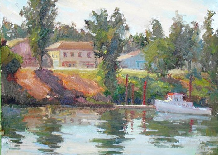 River Greeting Card featuring the painting Courtland View by Patti Miller