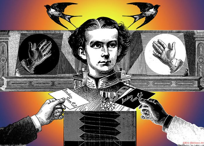 Ludwig Ii Of Bavaria Greeting Card featuring the digital art Courtship Of X The Unknown by Eric Edelman