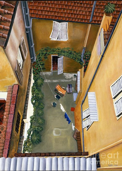Court Yard Greeting Card featuring the painting Courtyard In Milan by Jiji Lee
