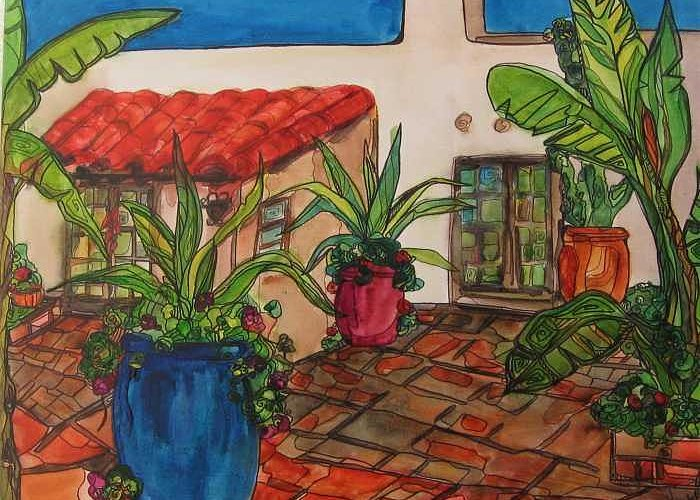 Greeting Card featuring the painting Courtyard In Rancho Santa Fe by Michelle Gonzalez