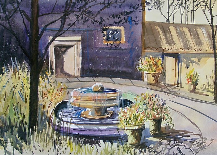 Watercolor Greeting Card featuring the painting Courtyard In The Morning by Ryan Radke