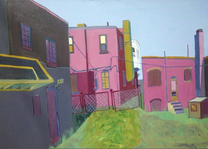 Alleyway Greeting Card featuring the painting Courtyard View by Debra Bretton Robinson