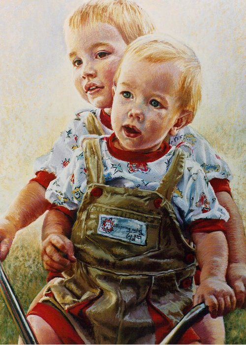 Pastel Portrait Greeting Card featuring the pastel Cousins by Jean Hildebrant