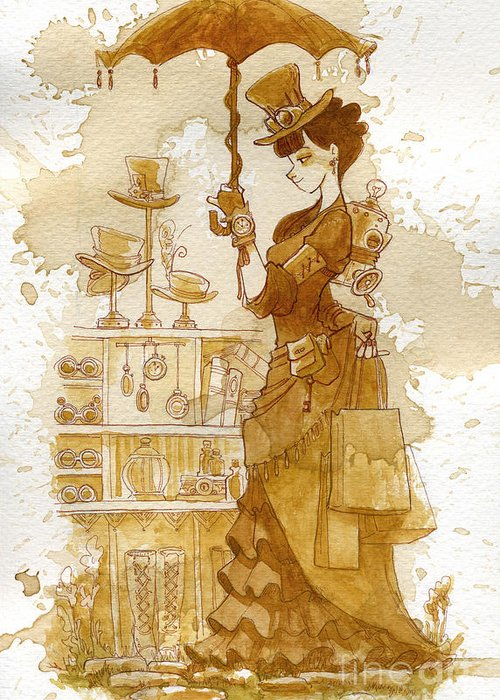 Steampunk Greeting Card featuring the painting Couture by Brian Kesinger
