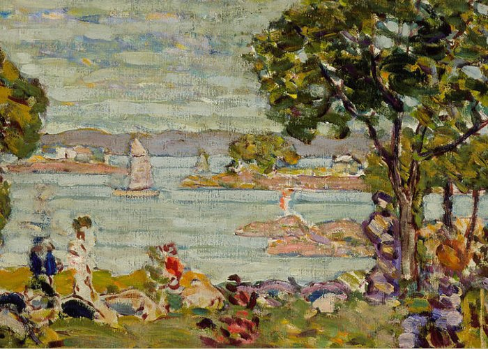 Prendergast Greeting Card featuring the painting Cove Maine by Maurice Brazil Prendergast