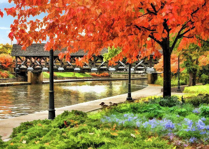 Naperville Greeting Card featuring the painting Covered Bridge Along Riverwalk by Christopher Arndt