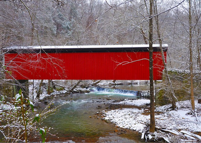 Philadelphia Greeting Card featuring the photograph Covered Bridge Along The Wissahickon Creek by Bill Cannon