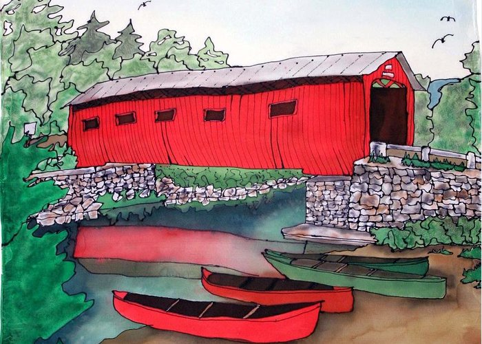 Covered Bridge Greeting Card featuring the painting Covered Bridge And Canoes by Linda Marcille