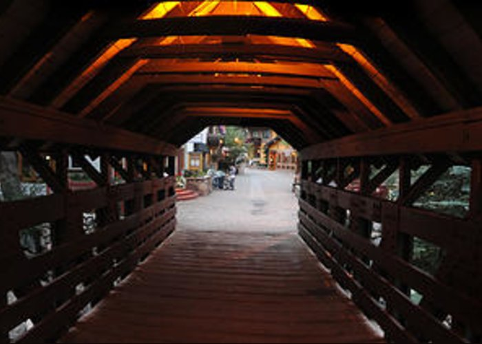 Vail Greeting Card featuring the photograph Covered Bridge In Vail Colorado Panorama by Jeff Schomay