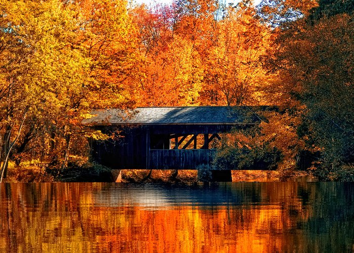Covered Bridge Greeting Card featuring the photograph Covered Bridge by Joann Vitali