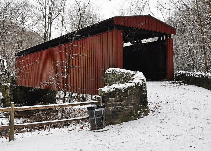 Covered Bridge Greeting Card featuring the photograph Covered Bridge Over The Wissahickon Creek by Bill Cannon