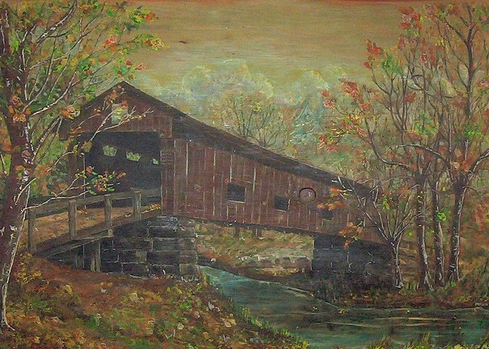 Bridge Greeting Card featuring the painting Covered Bridge by Phyllis Mae Richardson Fisher