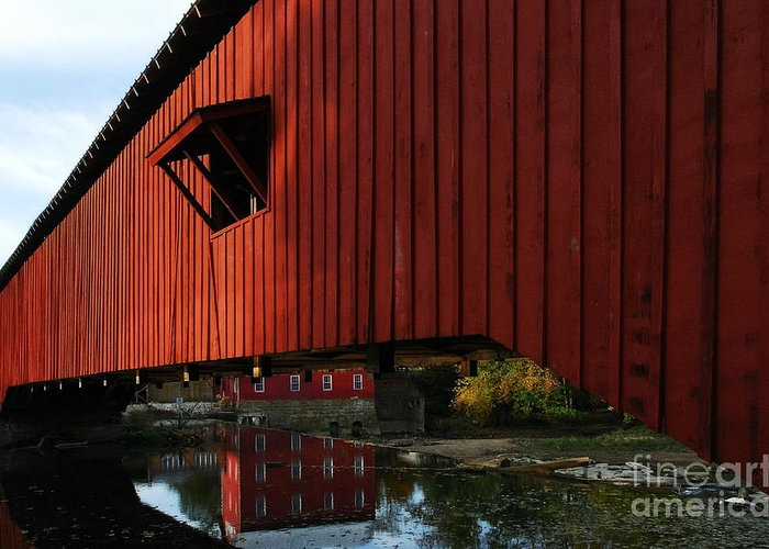 Mel Steinhauer Greeting Card featuring the photograph Covered Bridge Reflections by Mel Steinhauer