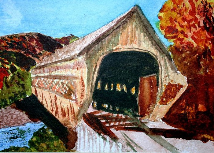 Covered Bridge Greeting Card featuring the painting Covered Bridge Woodstock Vt by Donna Walsh